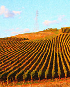 Impressionist Art Digital Art Prints - Napa Valley Vineyard . Portrait Cut Print by Wingsdomain Art and Photography