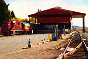 Impressionism Prints - Napa Wine Train at The Napa Valley Railroad Station Print by Wingsdomain Art and Photography