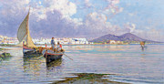 Naples Paintings - Naples from Mergellina  by Giuseppe Carelli