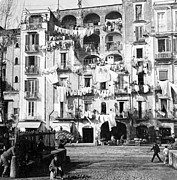 Hanging Laundry Framed Prints - Naples Italy - c 1901 Framed Print by International  Images
