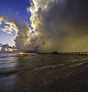 Nick  Shirghio - Naples Pier Storm Sunset