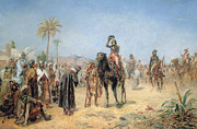 Oasis Posters - Napoleon Arriving at an Egyptian Oasis Poster by Robert Alexander Hillingford