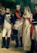 Engagement Painting Prints - Napoleon Bonaparte Receiving Queen Louisa of Prussia Print by Nicolas Louis Francois Gosse