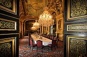 Louvre Museum Framed Prints - Napoleon Bonapartes Dinning room at the Louvre Museum Paris Framed Print by Pierre Leclerc