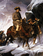 Crossing Painting Posters - Napoleon Crossing the Alps Poster by Hippolyte Delaroche
