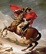 Mountains Posters - Napoleon Crossing the Alps Poster by Jacques Louis David