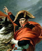 Equestrian Metal Prints - Napoleon Crossing the Alps on 20th May 1800 Metal Print by Jacques Louis David