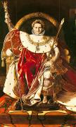 Napoleonic Wars Framed Prints - Napoleon I on the Imperial Throne Framed Print by Ingres