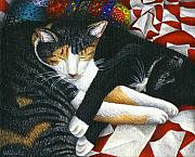 Black And White Cats Paintings - Napping Cat Friends by Carol Wilson