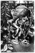 French Open Drawings Prints - Napping Sculptor Print by Al Goldfarb