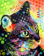 Abstract Cat Prints - Nappy Cat Print by Dean Russo