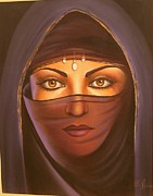 Hijab Paintings - Naqab Girl by Yousuf Shah