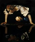 Myths Painting Framed Prints - Narcissus Framed Print by Caravaggio