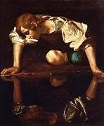 Caravaggio Paintings - Narcissus by Pg Reproductions
