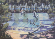 Waterscape Painting Metal Prints - Narrabeen Lakes 2 Metal Print by Murray McLeod