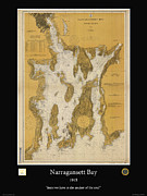 Nautical Chart Photos - Narragansett Bay by Adelaide Images