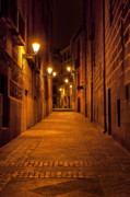 Night Lamp Prints - Narrow Alley  Print by John Greim