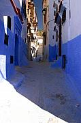 Northern Africa Metal Prints - Narrow Backstreet in colourful Chefachaouen Rif Mountains Morocco Metal Print by Ralph Ledergerber