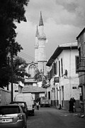 Trnc Posters - narrow city streets leading to Selimiye mosque formerly saint sophia cathedral nicosia lefkosia TRNC Poster by Joe Fox