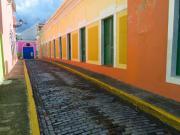 Narrow Cobblestone Street In Old San Juan Puerto Rico Print by George Oze