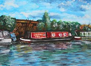 Shores Painting Originals - Narrowboat in Water-colour by Abbie Shores