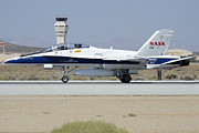 Space Shuttle Endeavor Prints - NASA FA-18B Hornet N852NA Landing at Edwards AFB September 20 2012 Print by Brian Lockett
