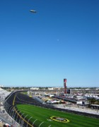Daytona 500 Photos - Nascar Blimp and Moon by Lesley Giles