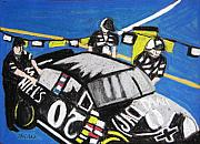 Nascar Paintings - Nascar Jack Daniels Team by Lesley Giles