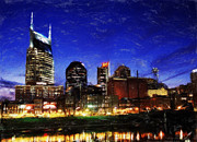 Nashville Tennessee Painting Metal Prints - Nashville At Twilight Metal Print by Dean Wittle