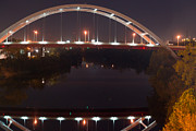 Nashville Tennessee Posters - Nashville Bridge by Night 5 Poster by Douglas Barnett
