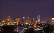 Downtown Nashville Framed Prints - Nashville Cityscape 9 Framed Print by Douglas Barnett