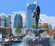 City Life Mixed Media - Nashville Colors by Garland Johnson