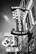 Downtown Nashville Metal Prints - nashville crossroads music city ernest tubbs record shop on broadway downtown Nashville Tennessee US Metal Print by Joe Fox
