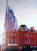 Nashville Tennessee Painting Metal Prints - Nashville from River Metal Print by George Grace