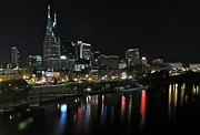 Nashville Skyline Art - Nashville Night Skyline by Eve Spring