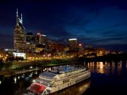 Riverboat Framed Prints - Nashville Skyline and Riverboat Framed Print by Mark Currier