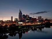 Nashville Downtown Photos - Nashville Skyline And The Cumberland by Everett