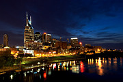 Night Photo Posters - Nashville Skyline Poster by Mark Currier