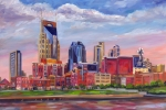Cumberland River Framed Prints - Nashville Skyline Painting Framed Print by Jeff Pittman