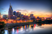 Nashville Tennessee Posters - Nashville Tennessee Skyline At Sunset Poster by Malcolm MacGregor