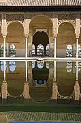Moorish Architecture Framed Prints - Nasrid Palace arches reflection at the Alhambra Granada Framed Print by Mal Bray