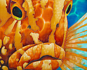 Water Tapestries - Textiles Prints - Nassau Grouper  Print by Daniel Jean-Baptiste