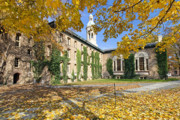 League Photo Posters - Nassau Hall with Fall Foliage Poster by George Oze