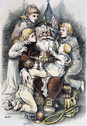 Women Children Framed Prints - Nast: Christmas, 1879 Framed Print by Granger