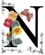 Initial Posters - Nasturtium and Nettle-Tree Butterfly Poster by Constance Widen
