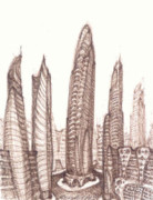 Cityscape Drawings - Natachas Neighborhood by J Michael Kilpatrick