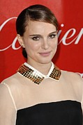 Hair Bun Metal Prints - Natalie Portman At Arrivals For 22nd Metal Print by Everett