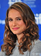 Hyatt Regency Hotel Framed Prints - Natalie Portman At The Press Conference Framed Print by Everett