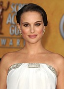 Brown Earrings Prints - Natalie Portman Wearing An Azzaro Gown Print by Everett