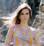 Gold Earrings Acrylic Prints - Natalie Wood, Wearing A Pucci Design C Acrylic Print by Everett